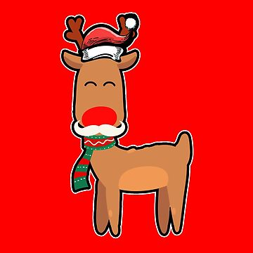 Rudolph Reindeer Moustache Christmas Funny Gift by yoddel