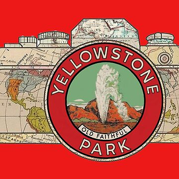 Map Camera with Old Faithful Yellowstone Park Vintage Travel Decal image in the Lens by Drewaw
