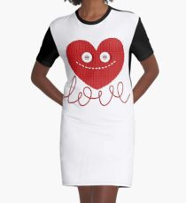 Knitted Red Heart Design Graphic T-Shirt Dress