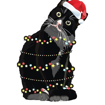Black Cat Christmas Fairy Lights Cute Santa Paws Xmas Hat & Decorations Shirt, Print, Mug by thehadgaddad