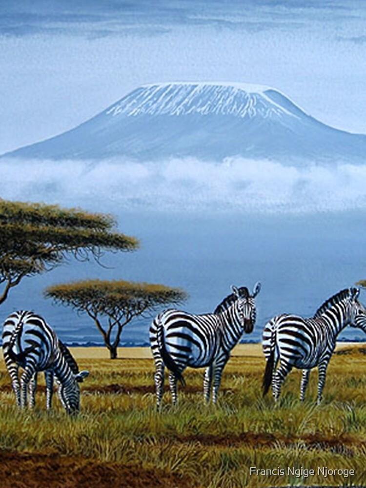 Schöne Kunstentwürfe der Zebras am Fuß des Berges. Kilimandscharo von Mutan