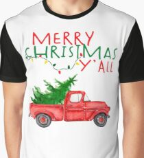 Merry Christmas Y'all Vintage Red Truck Xmas Farm Fresh Trees Classic Design Graphic T-Shirt