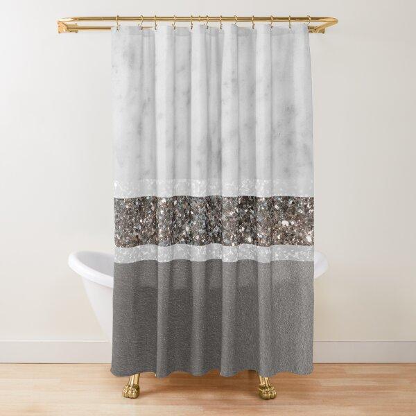 White Marble Silver Glitter Stripe Glam #1 #minimal #decor #art  Shower Curtain