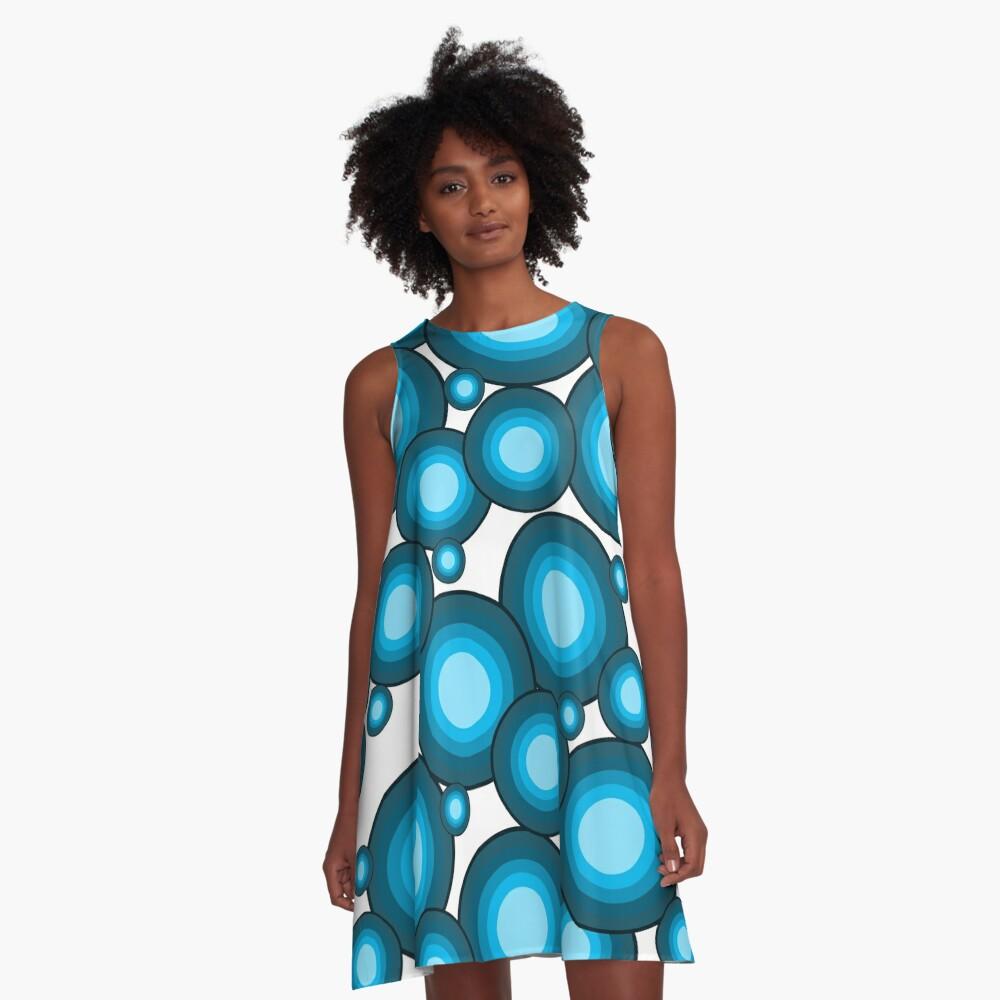 Blaue 70er Jahre Kreise A-Line Dress