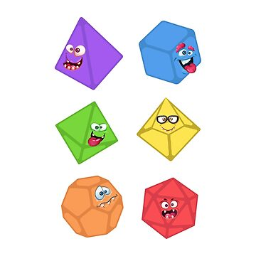 Cute Polyhedral Dice Monster Tabletop RPG by pixeptional