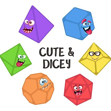 Cute and Dicey Funny and Cute Polyhedral Dice Set Tabletop RPG by pixeptional