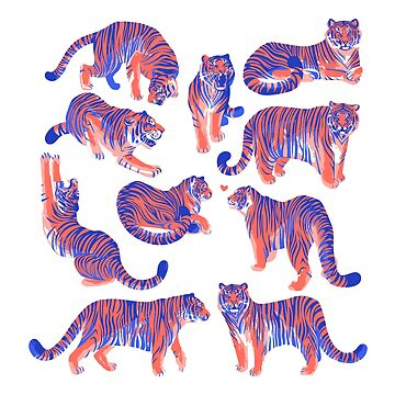 Graphic collection of tigers in different poses. by Glazkova