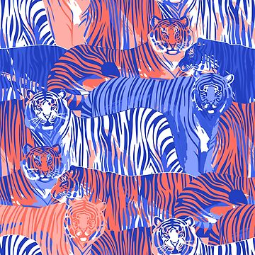 Graphic seamless pattern of standing and walking tigers. by Glazkova