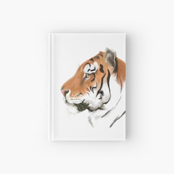 Portrait of a Tiger on white background Hardcover Journal