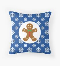 Christmas / Winter Gingerbread Man Snowflakes Blue Throw Pillow