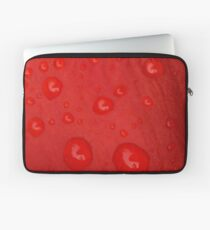 Deep Red Lily Petal and Raindrops Laptop Sleeve