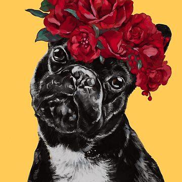 Bulldog francés con corona de flores rosas en amarillo de bignosework