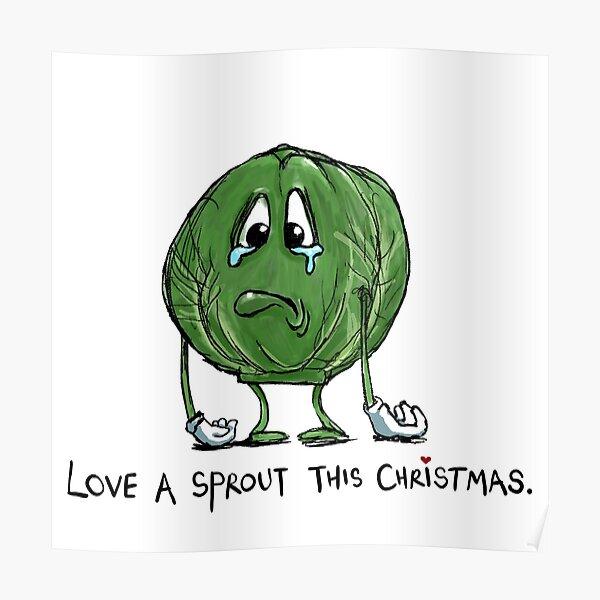 Funny Sad Cartoon Sprout Christmas Vegetable Joke Poster