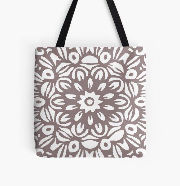 Floral Burst, White & Grey Mandala 5 All Over Print Tote Bag