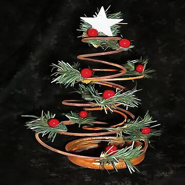 Coiled Spring Bespoke Christmas Tree Isolated On Black by taiche