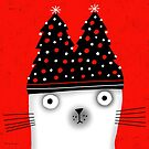 CHRISTMAS TREE HAT CAT by Terry Runyan