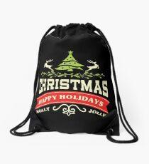 Vintage Retro Holly Jolly Merry Christmas Happy Holidays Drawstring Bag