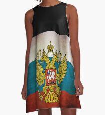 Waving flag of Russia A-Linien Kleid