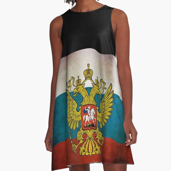 Waving flag of Russia A-Line Dress