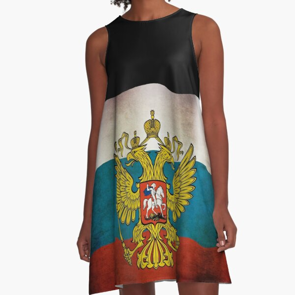 Waving flag of Russia A-Line Dress