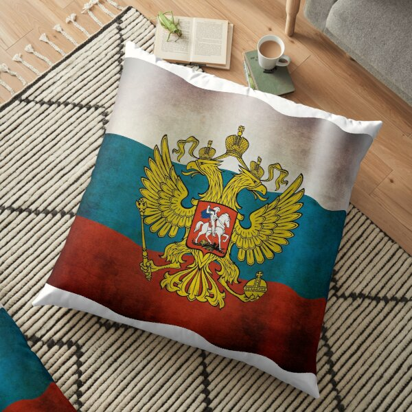Waving flag of Russia Floor Pillow
