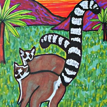 Ring Tailed Lemurs in meadow by ditempli