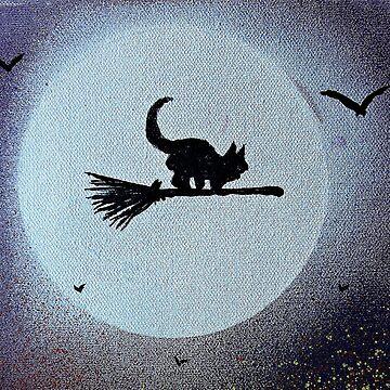 Black cat on broom by ditempli