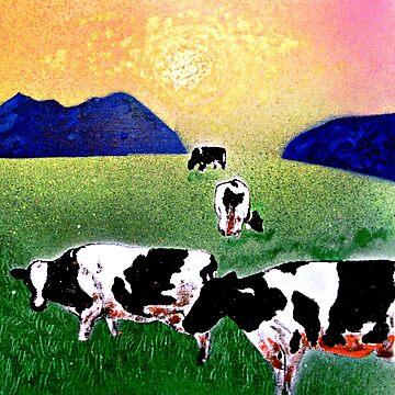 Cows in meadow by ditempli