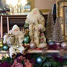 Two Santas On A Victorian Fireplace Mantel by Catherine Sherman