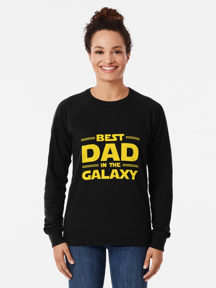 Alternate view of Best Dad in The Galaxy Lightweight Sweatshirt