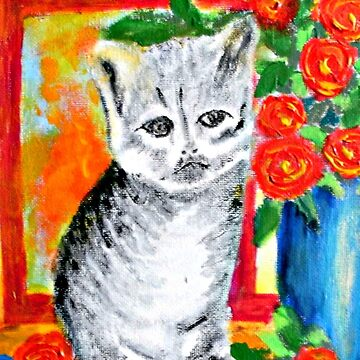 Kitten and Roses by ditempli
