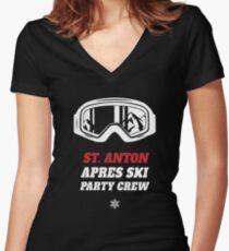Apres Ski Party Crew St. Anton Ski Snowbording Holiday vacation Women's Fitted V-Neck T-Shirt