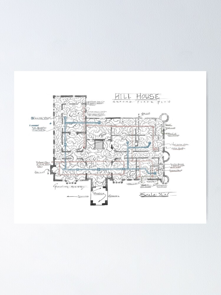 Haunting Of Hill House Blueprint Poster By Burnsydelight Redbubble