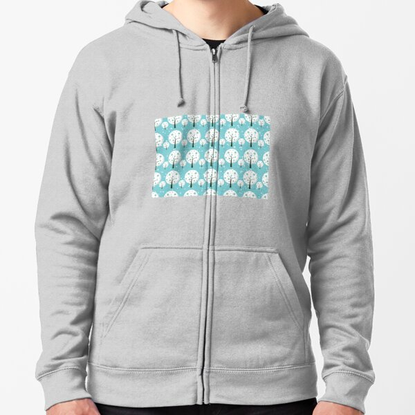 White trees  repeating pattern design Zipped Hoodie