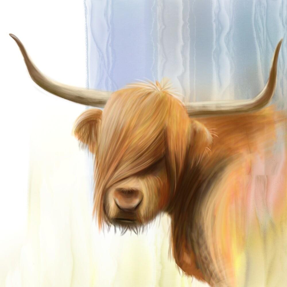 Portrait of a Highland Cow by artbywilf