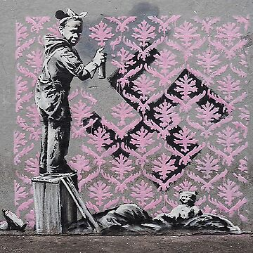 Banksy girl painting over a swastika cross by furioso