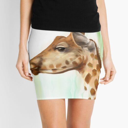 Portrait of a Giraffe Mini Skirt