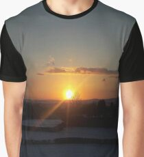 Sunset over Snow Fields Graphic T-Shirt
