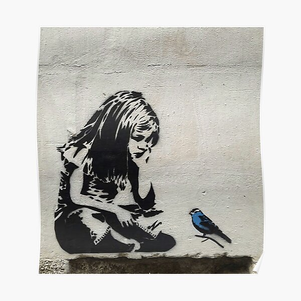 Banksy Girl with Blue Bird Poster