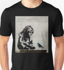 Banksy Girl with Blue Bird Unisex T-Shirt