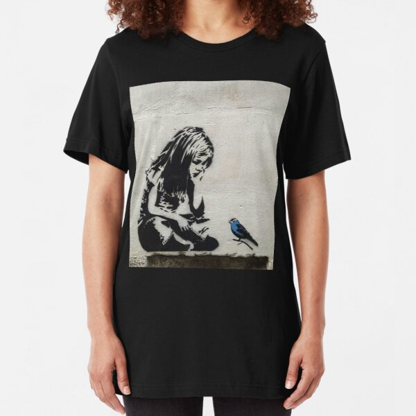 Banksy Girl with Blue Bird Slim Fit T-Shirt