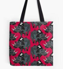 rhinoceros red Tote Bag