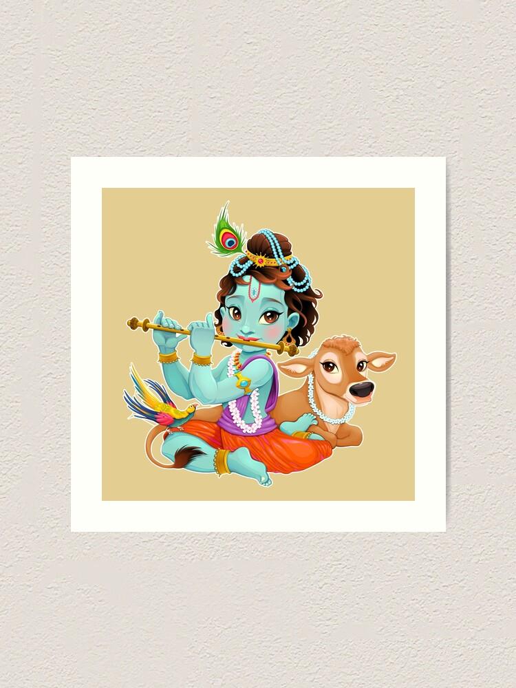 Cute Baby Krishna Playing Flute Art Print By Ryanrocha Redbubble