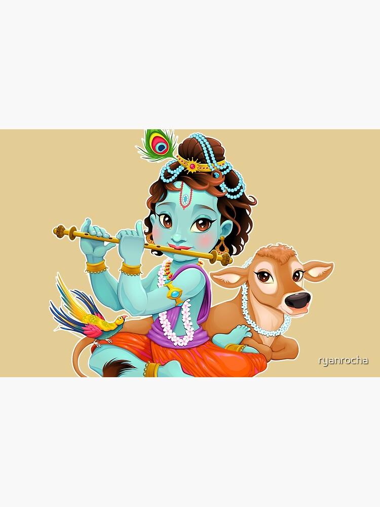 Cute Baby Krishna Playing Flute Laptop Skin By Ryanrocha Redbubble
