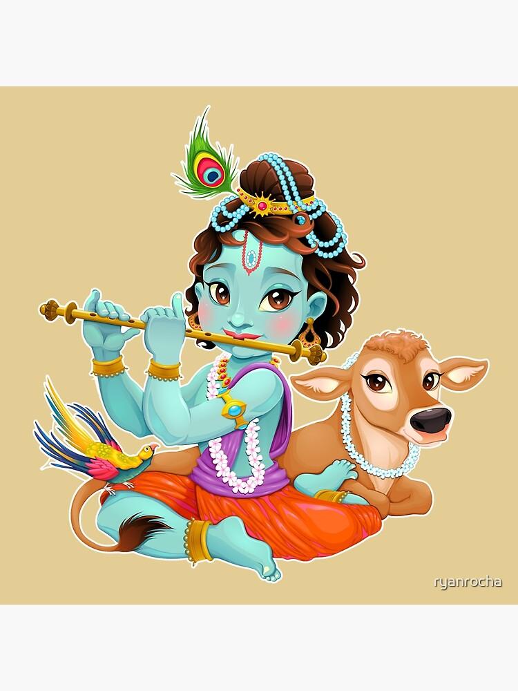 Cute Baby Krishna Playing Flute Tote Bag By Ryanrocha Redbubble