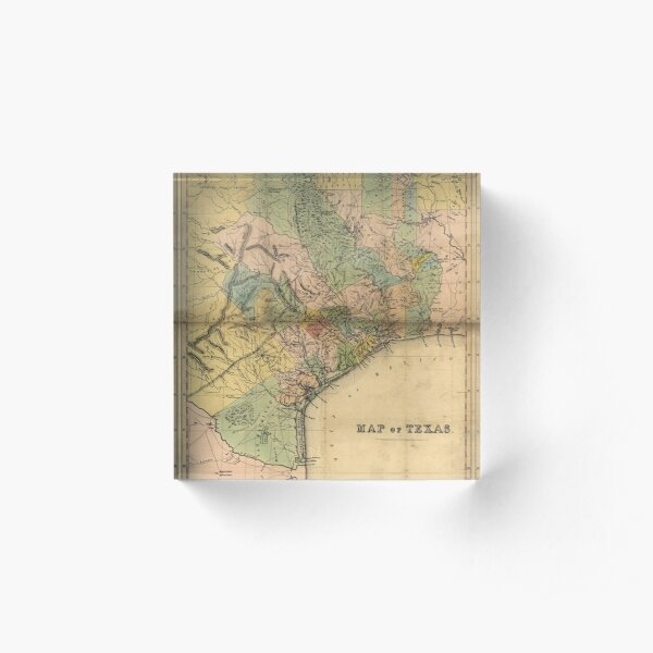 Map of Southeastern Texas (circa 1840) Acrylic Block
