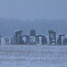 Moods of Stonehenge 5 - In the snow by Sharon Perrett