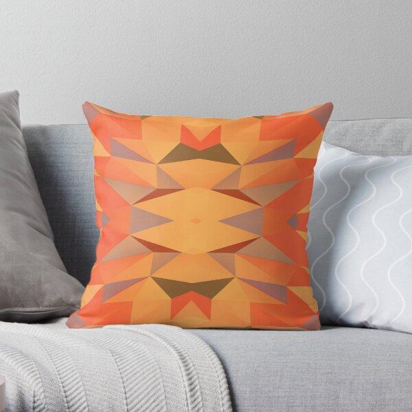 Red Orange Polygonal Patttern Throw Pillow