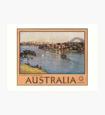 Vintage Sydney Harbour Australia Travel Vacation Holiday Advertisement Art Poster Art Print