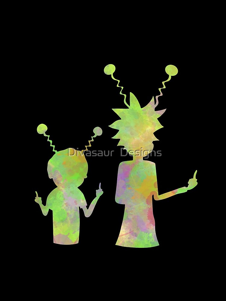 Rick and Morty silhouette - Peace among worlds  by DivasaurDesigns